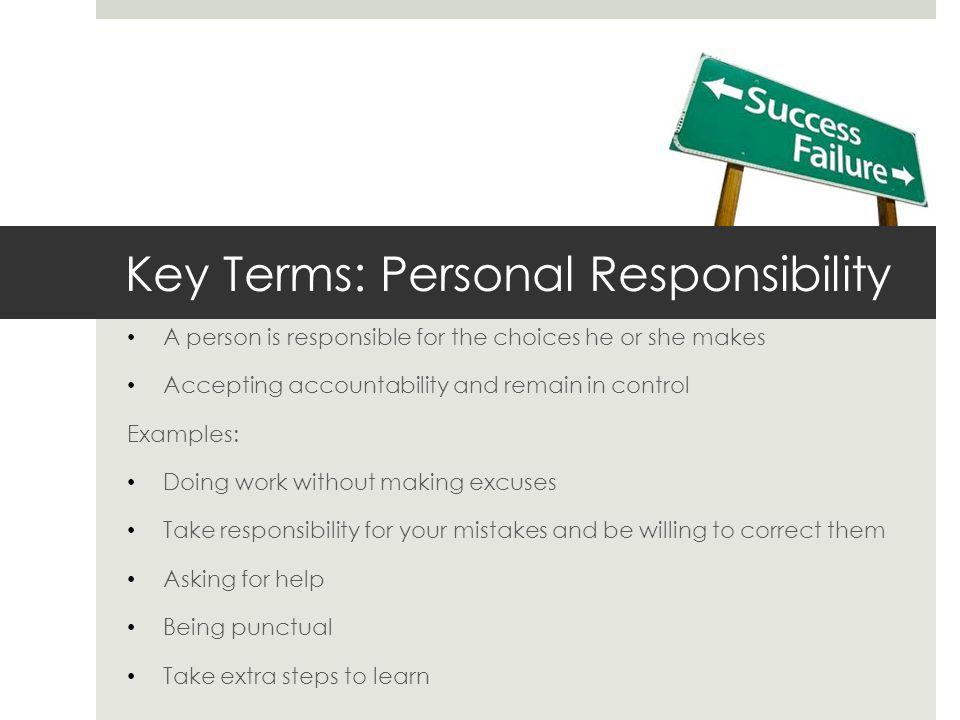 Key Terms: Personal Responsibility