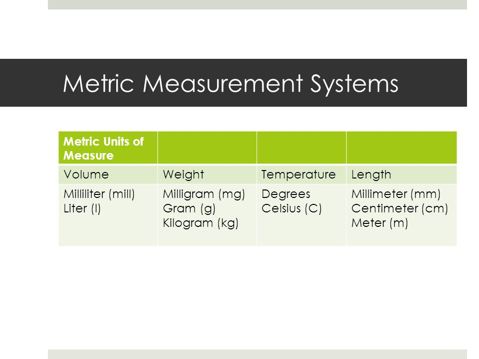 Metric Measurement Systems