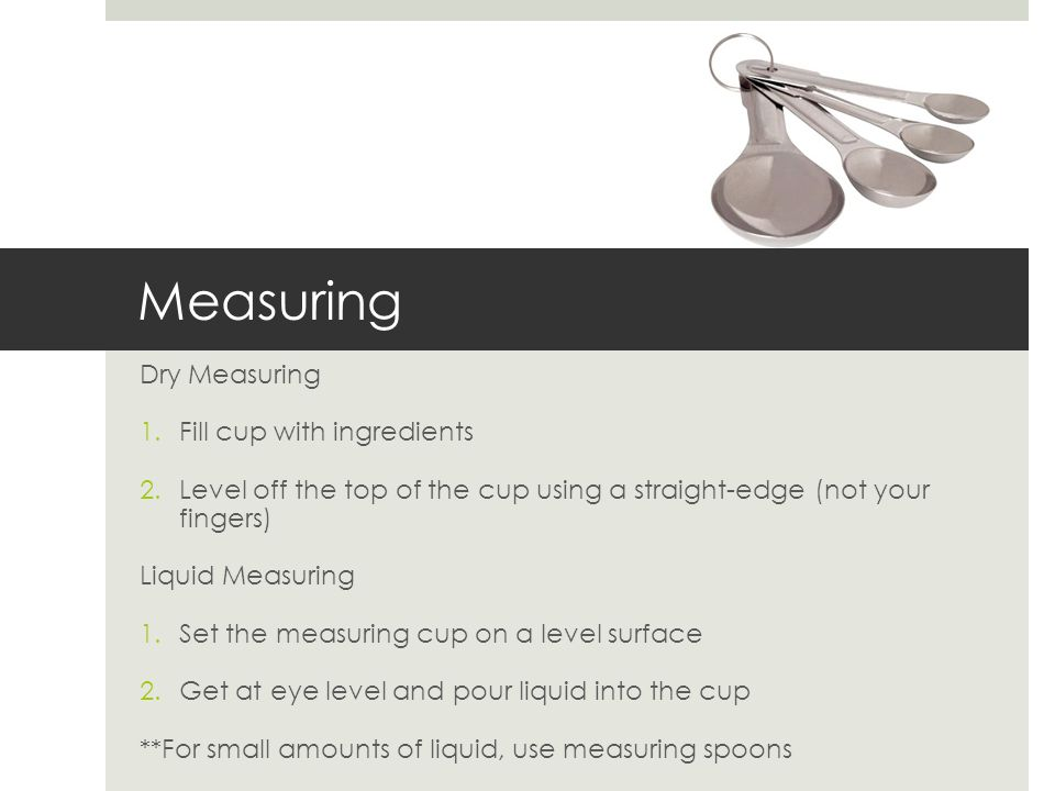 Measuring Dry Measuring Fill cup with ingredients