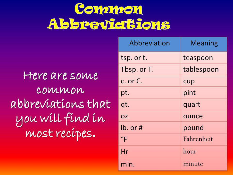 Here are some common abbreviations that you will find in most recipes.