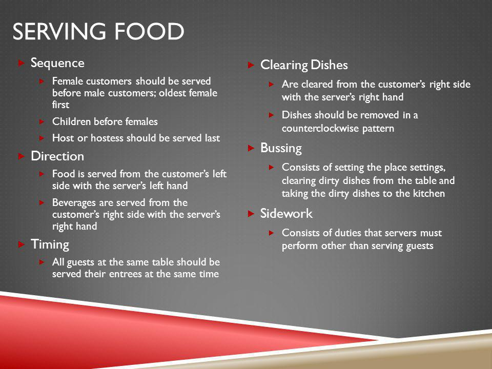 Serving Food Sequence Direction Timing Clearing Dishes Bussing