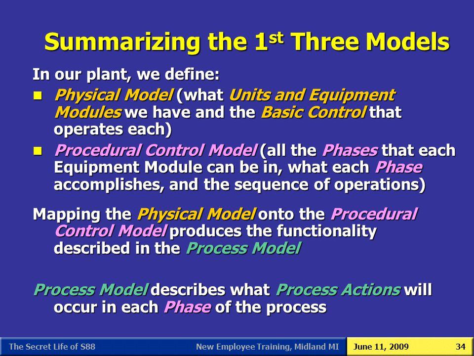 Summarizing the 1st Three Models