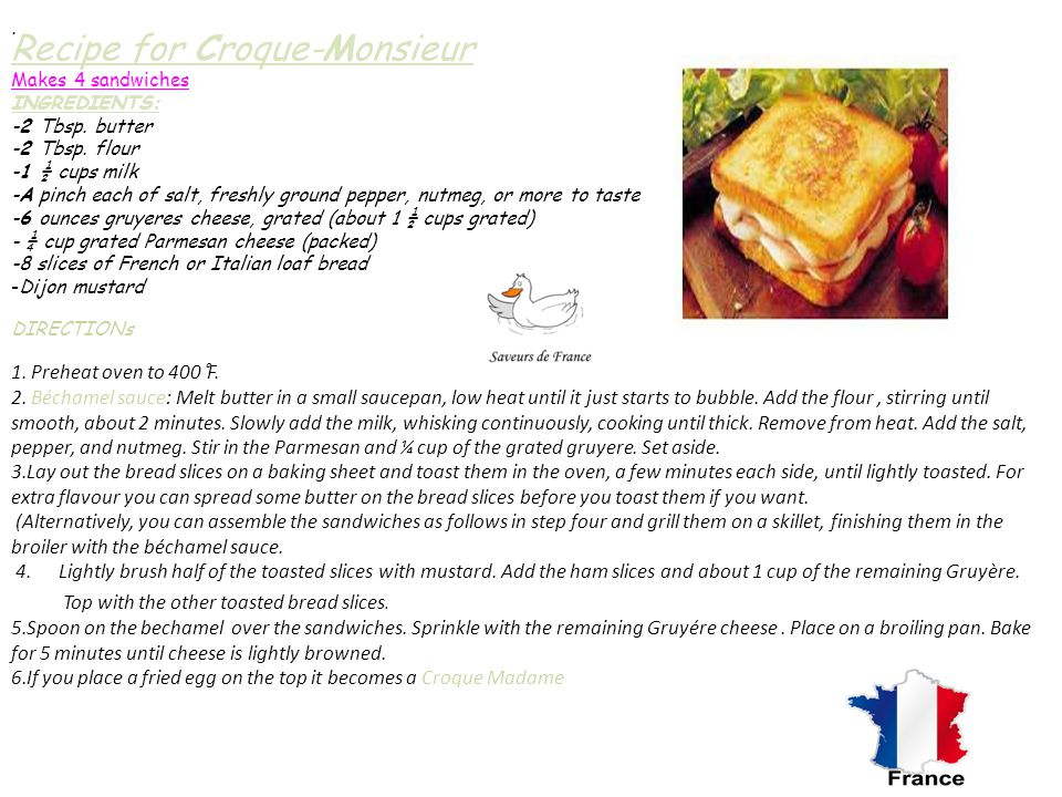 Recipe for Croque-Monsieur