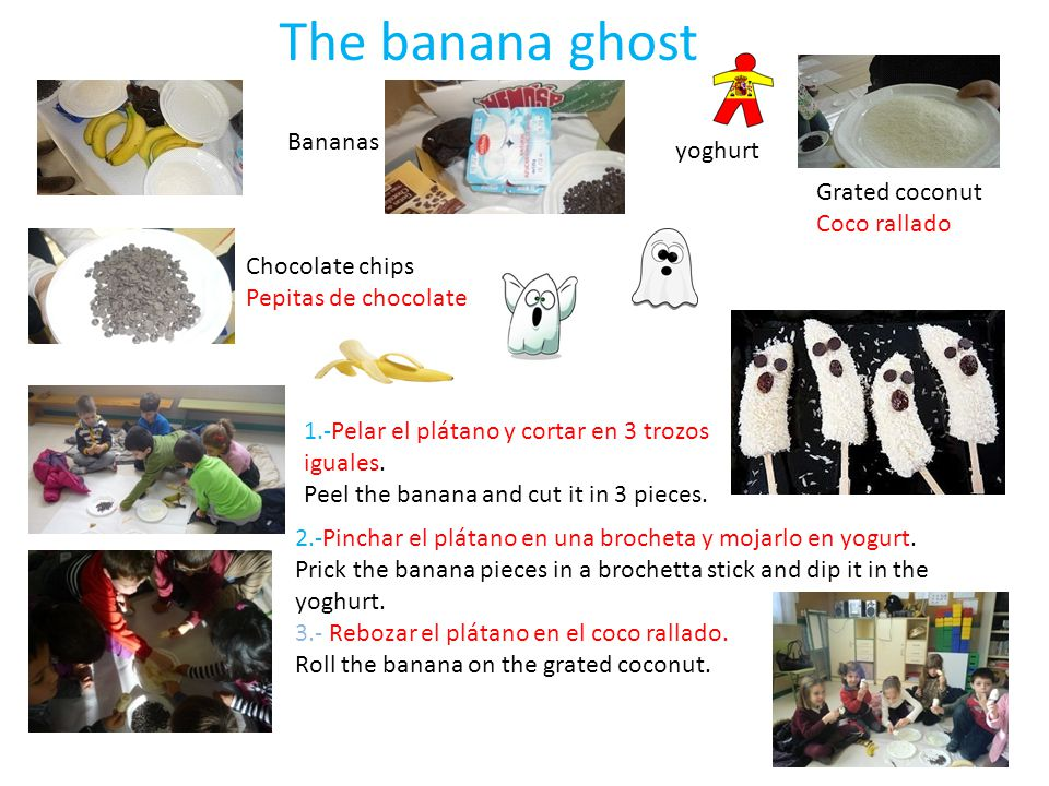 The banana ghost Bananas yoghurt Grated coconut Coco rallado