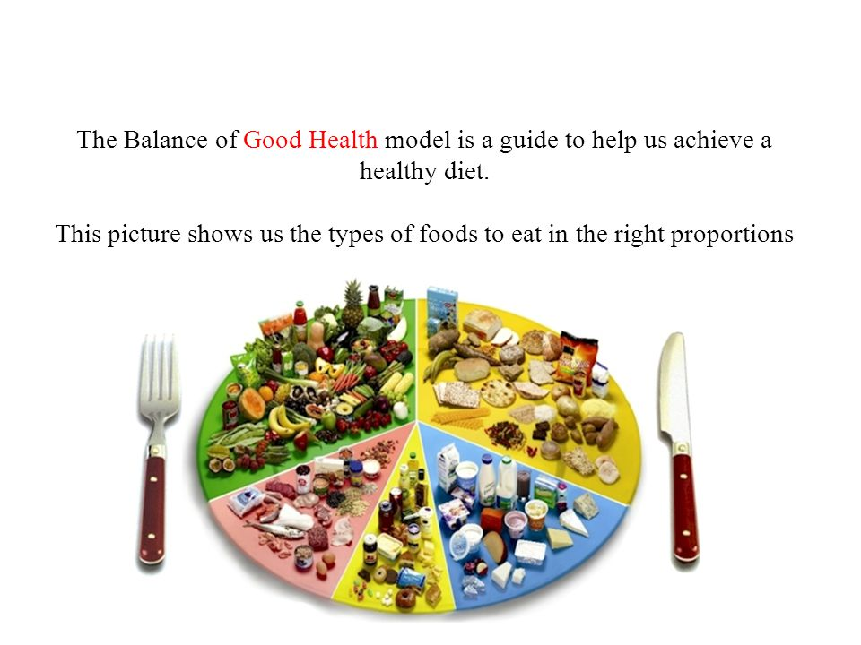 The Balance of Good Health model is a guide to help us achieve a healthy diet.