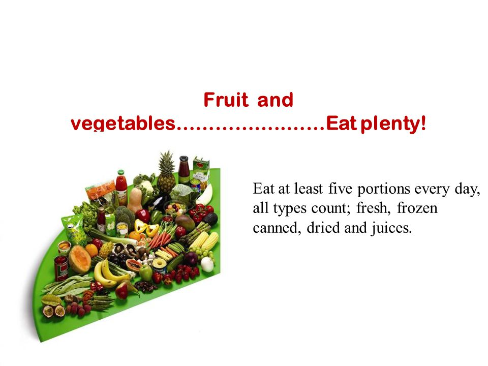 Fruit and vegetables……………..……Eat plenty!