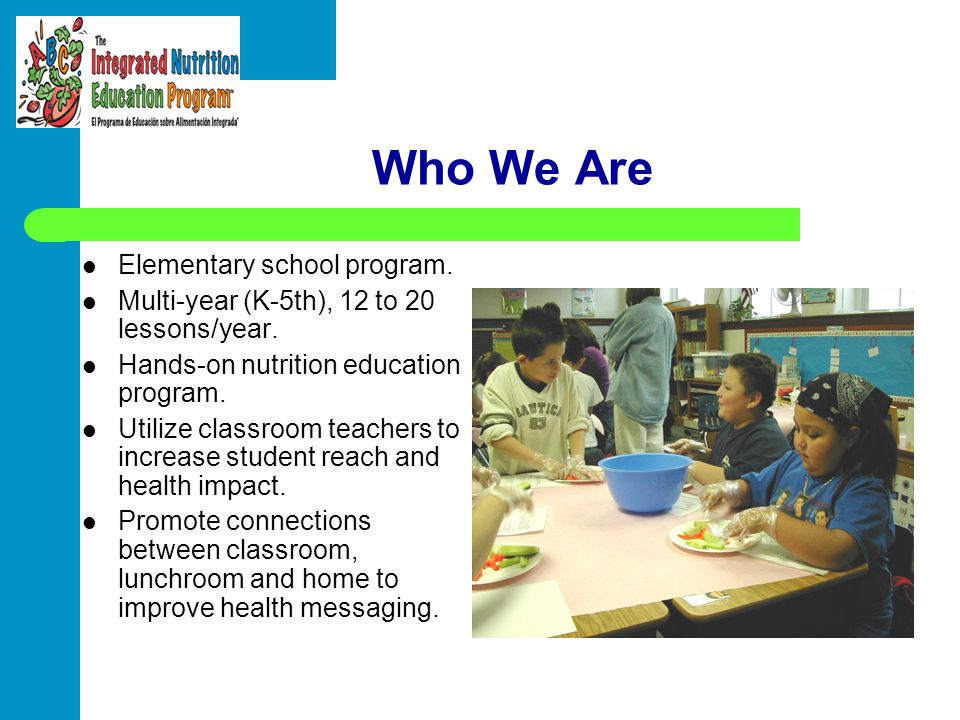 Who We Are Elementary school program.