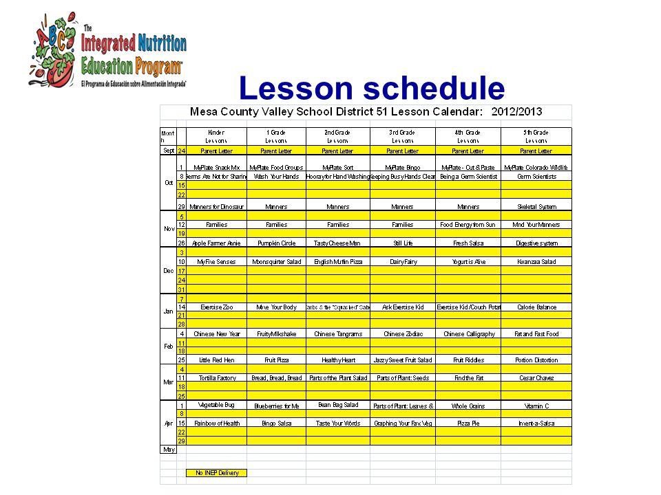 Lesson schedule