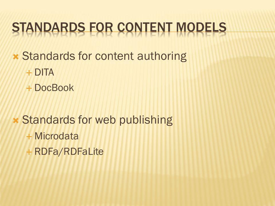 Standards for content models