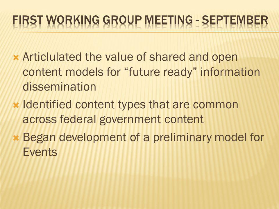 First Working Group Meeting - September