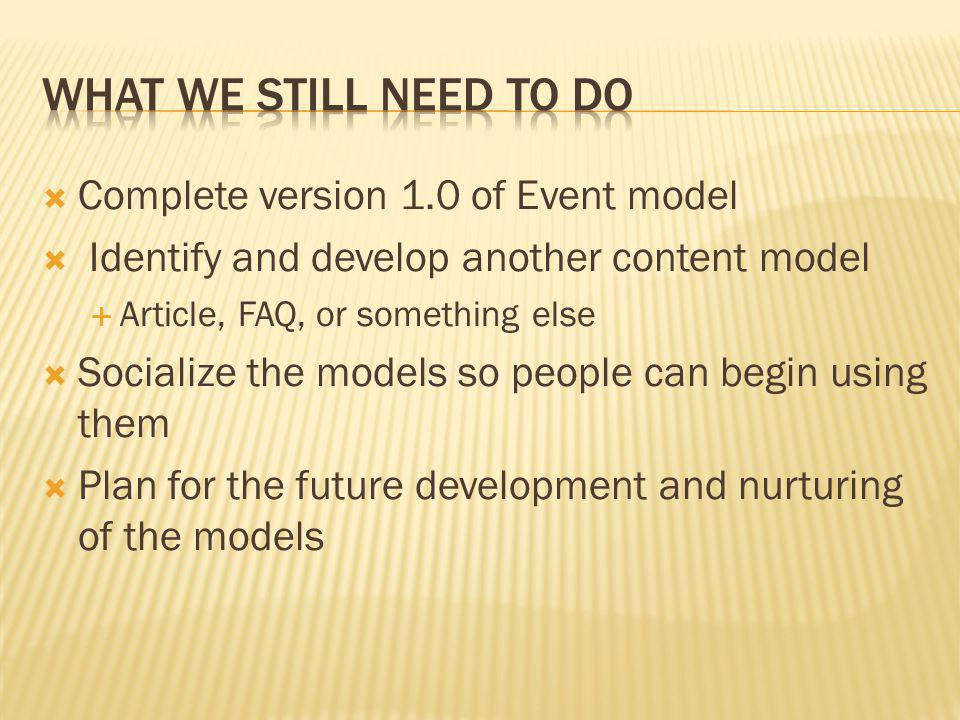 What we Still need to do Complete version 1.0 of Event model
