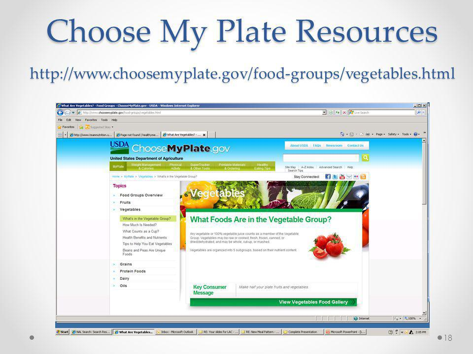 Choose My Plate Resources http://www. choosemyplate