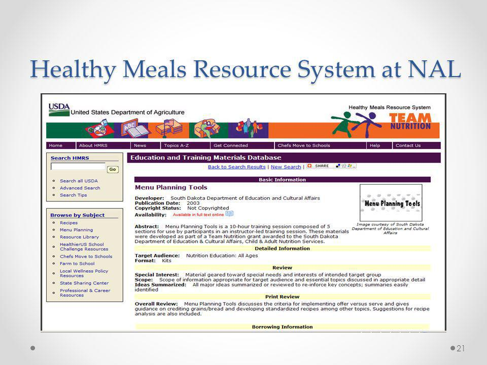 Healthy Meals Resource System at NAL