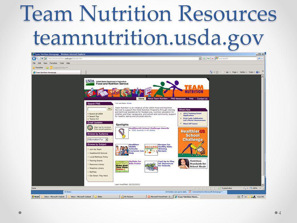 Team Nutrition Resources teamnutrition.usda.gov