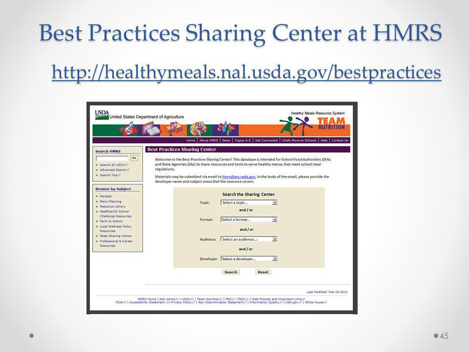 Best Practices Sharing Center at HMRS http://healthymeals. nal. usda