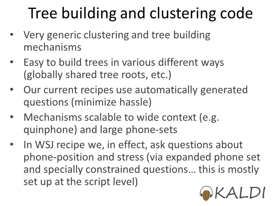 Tree building and clustering code