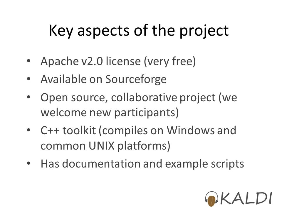 Key aspects of the project