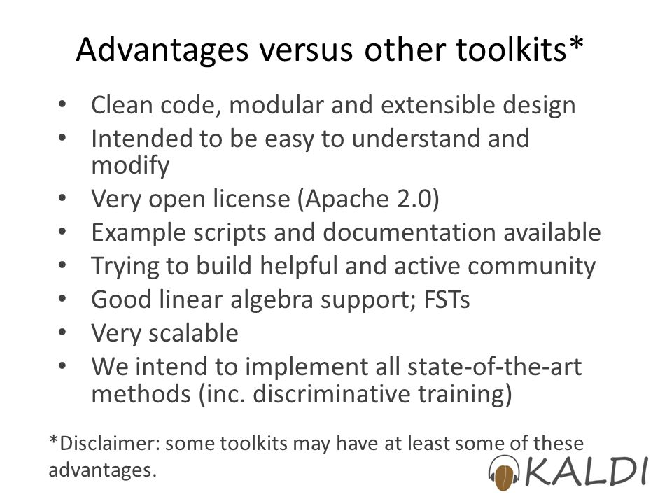 Advantages versus other toolkits*
