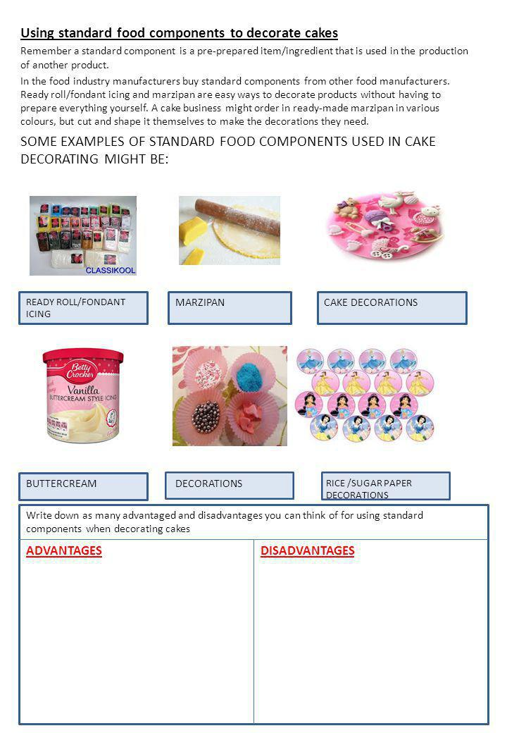Using standard food components to decorate cakes