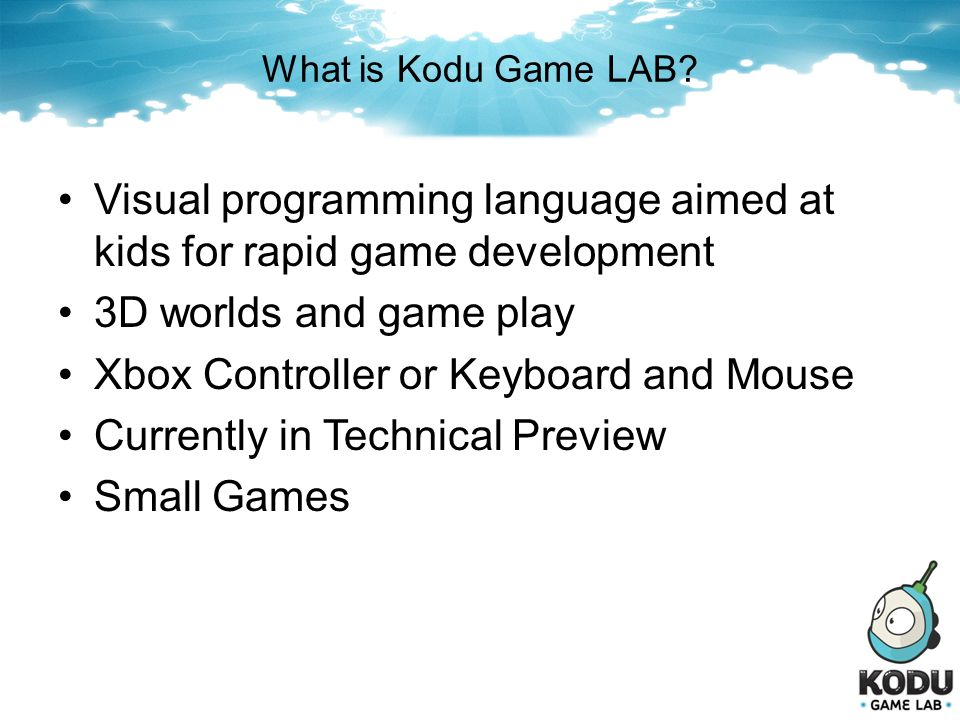 Visual programming language aimed at kids for rapid game development