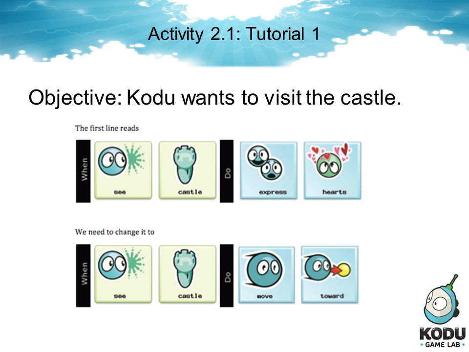 Objective: Kodu wants to visit the castle.