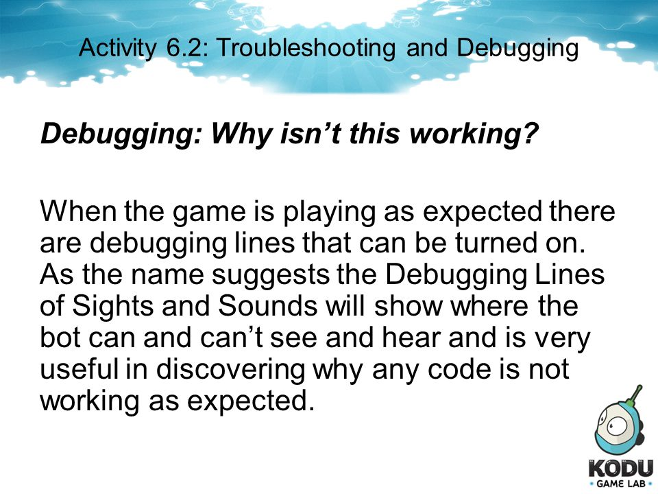 Activity 6.2: Troubleshooting and Debugging