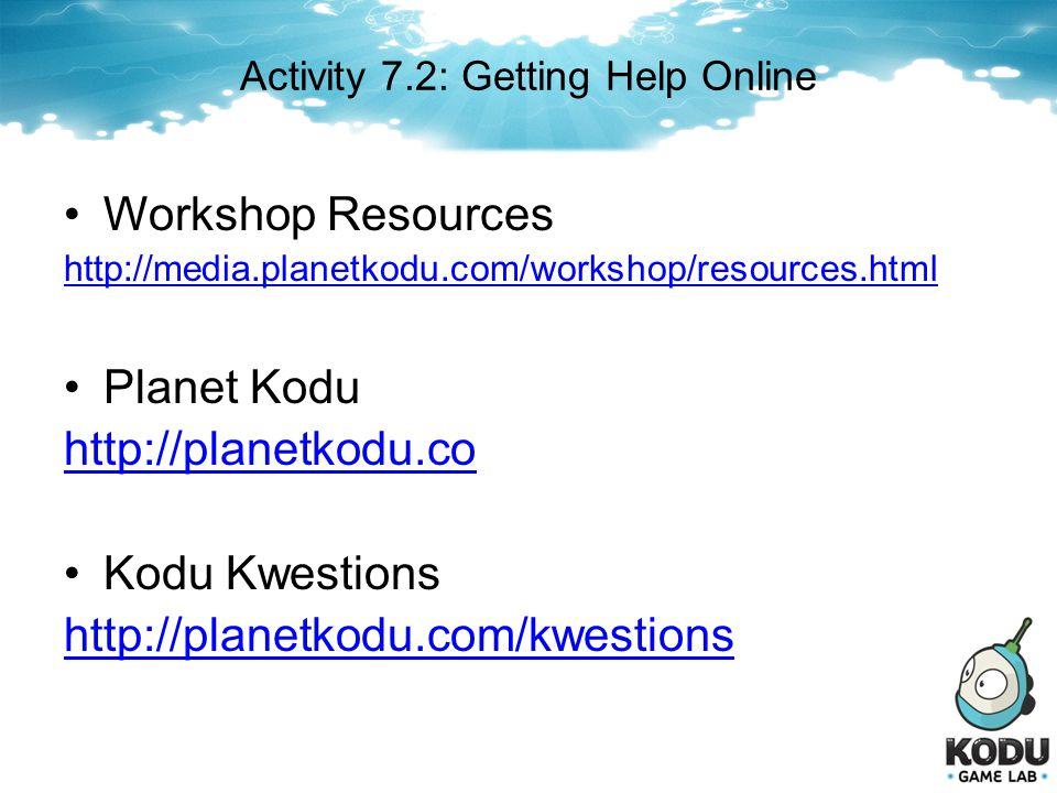 Activity 7.2: Getting Help Online