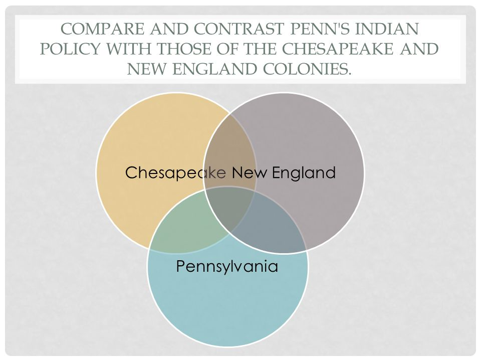Compare and contrast Penn s Indian policy with those of the Chesapeake and New England colonies.