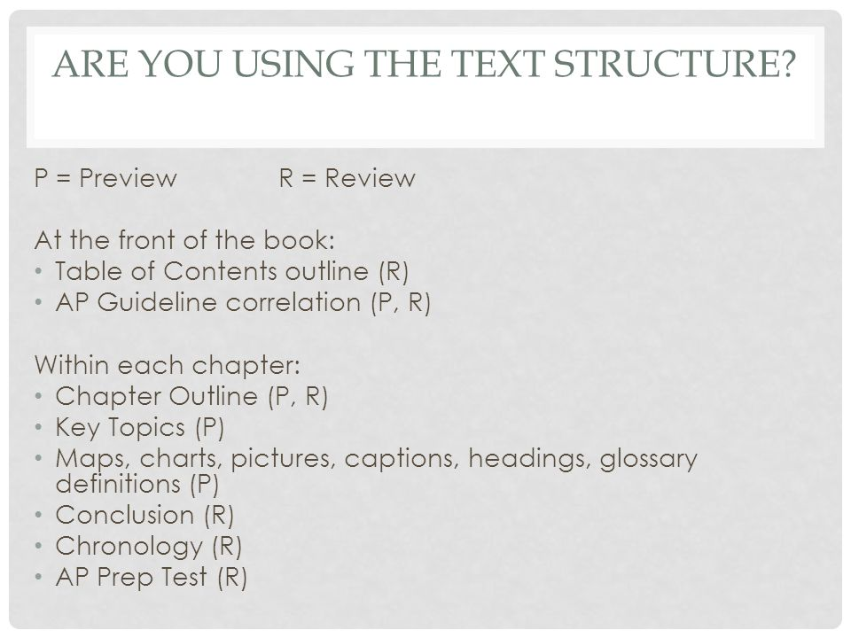 Are you using the text structure
