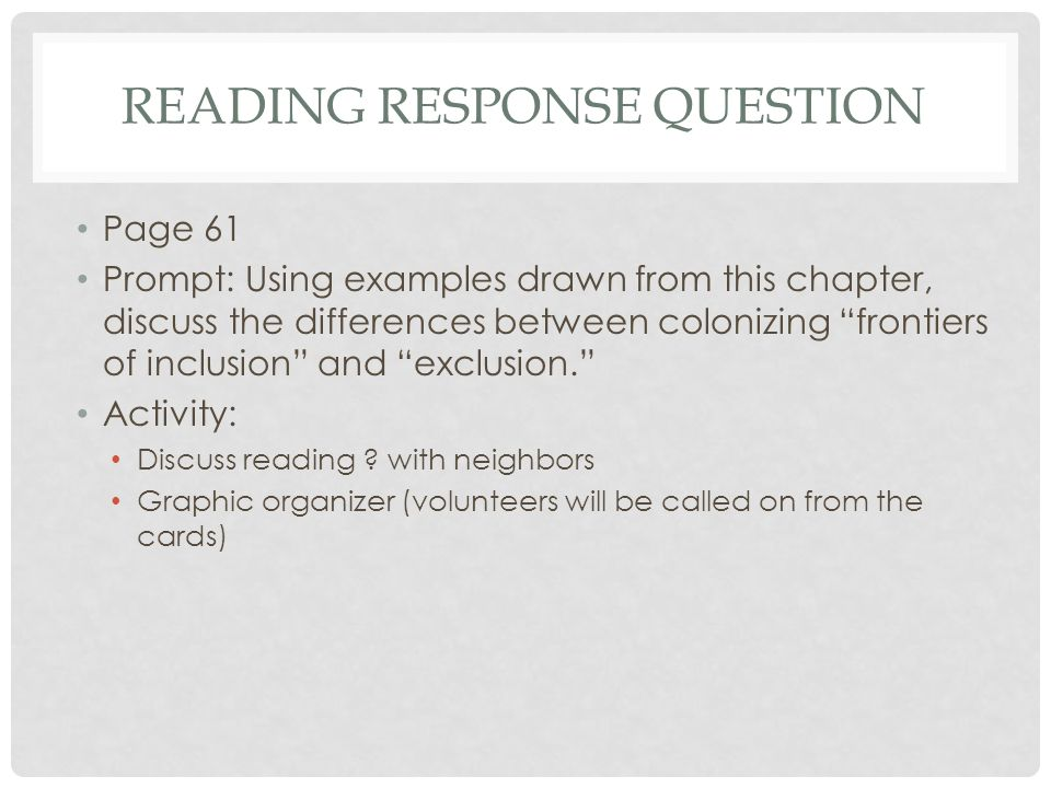 Reading Response Question