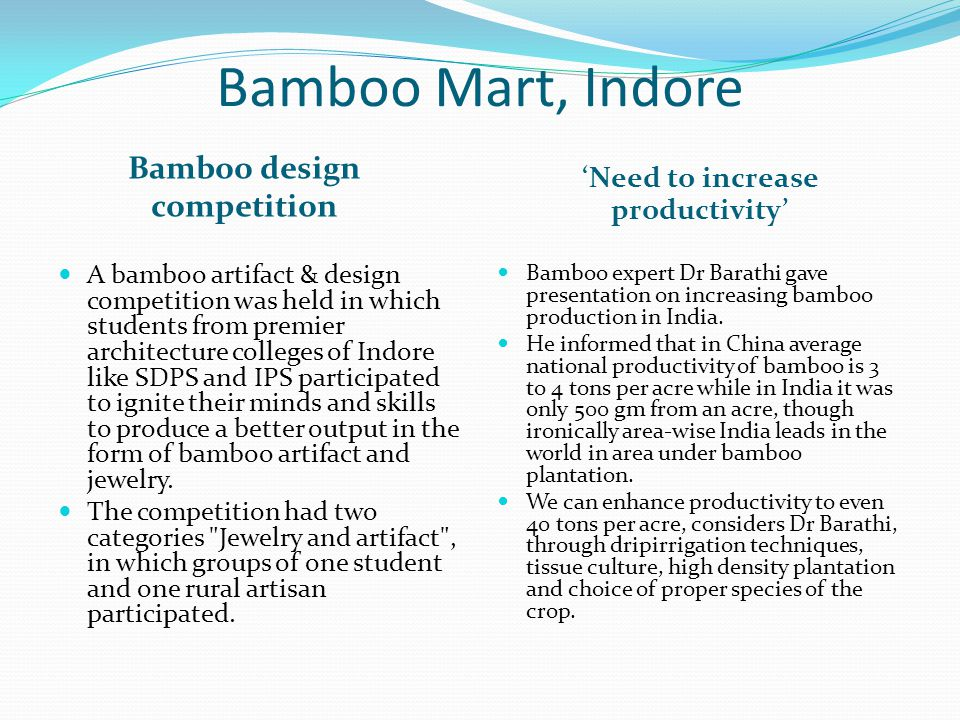 Bamboo design competition 'Need to increase productivity'