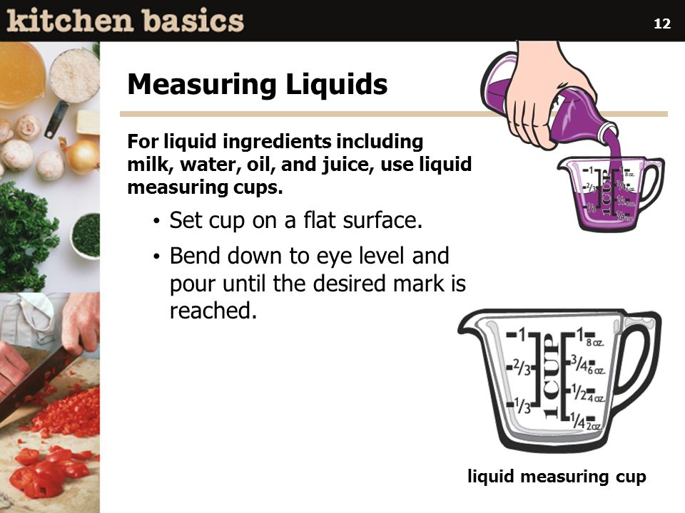 Measuring Liquids Set cup on a flat surface.