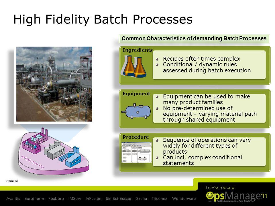 High Fidelity Batch Processes