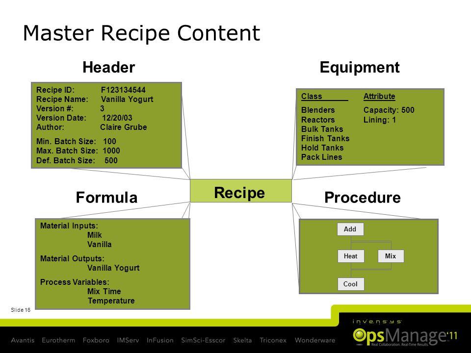 Master Recipe Content Header Equipment Recipe Formula Procedure
