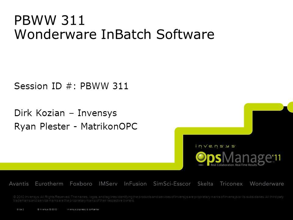 PBWW 311 Wonderware InBatch Software