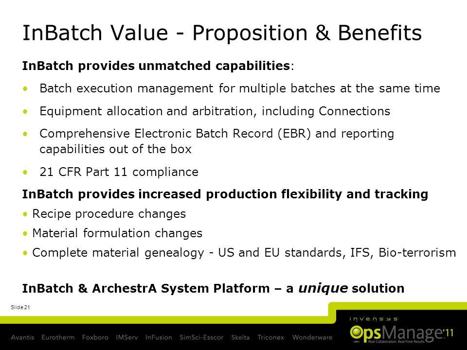 InBatch Value - Proposition & Benefits