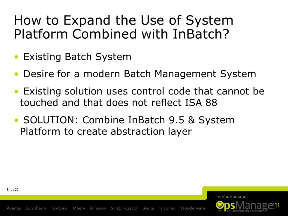 How to Expand the Use of System Platform Combined with InBatch