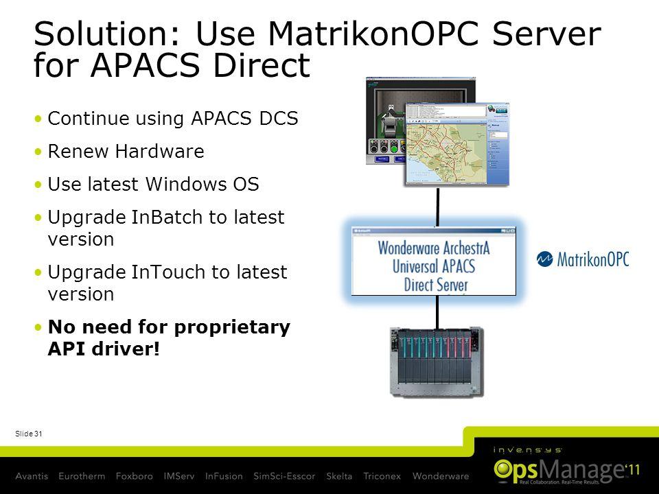 Solution: Use MatrikonOPC Server for APACS Direct