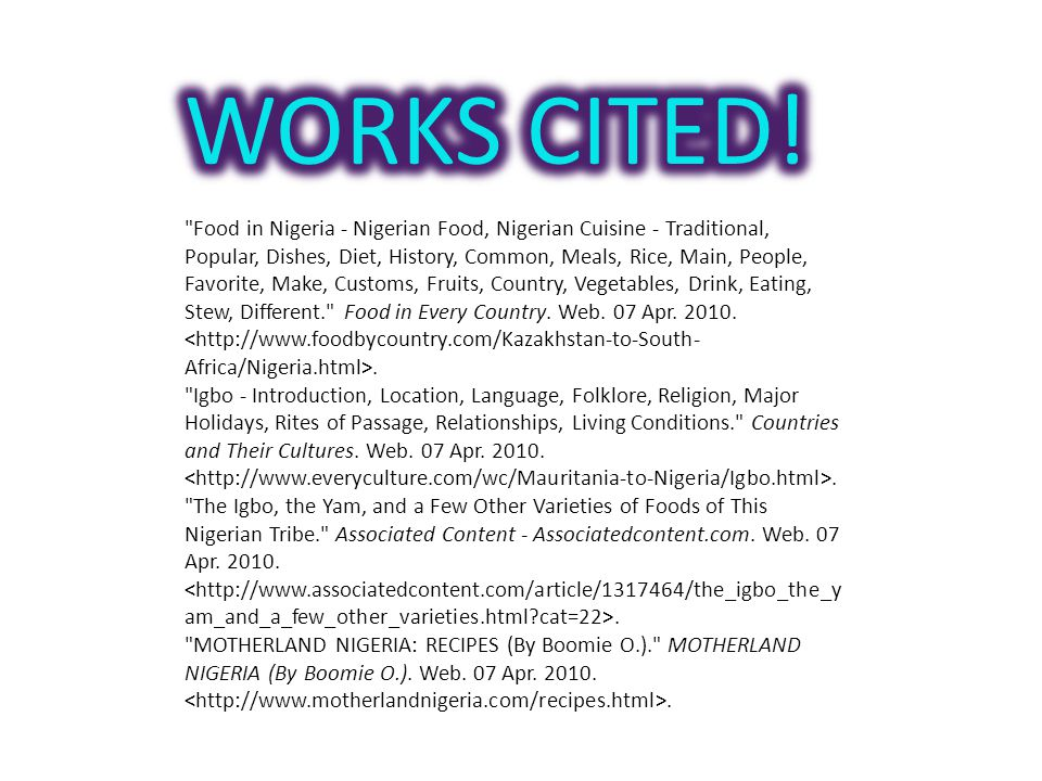 WORKS CITED!