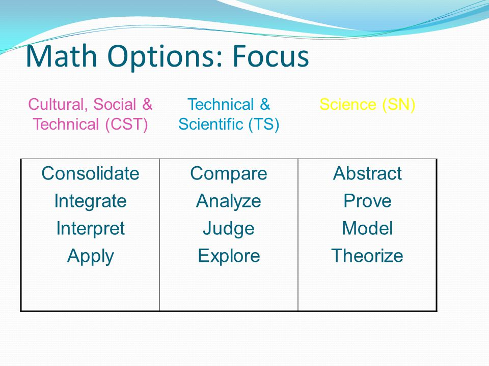 Math Options: Focus Consolidate Integrate Interpret Apply Compare