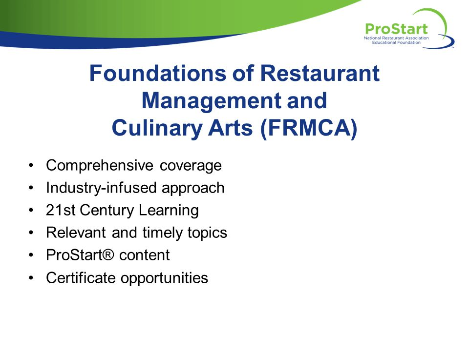 Foundations of Restaurant Management and Culinary Arts (FRMCA)
