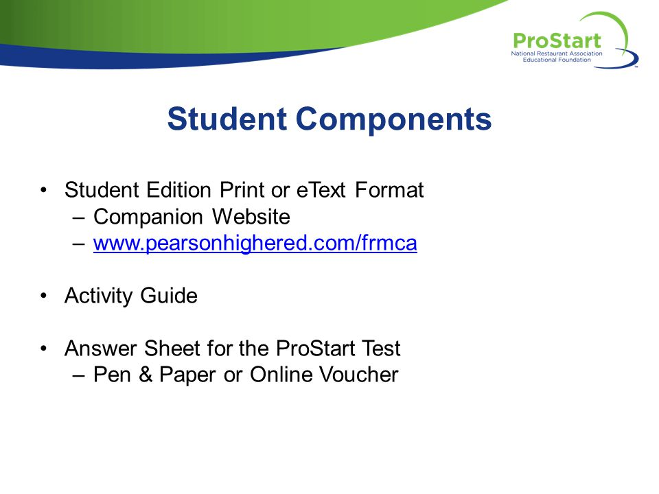 Student Components Student Edition Print or eText Format