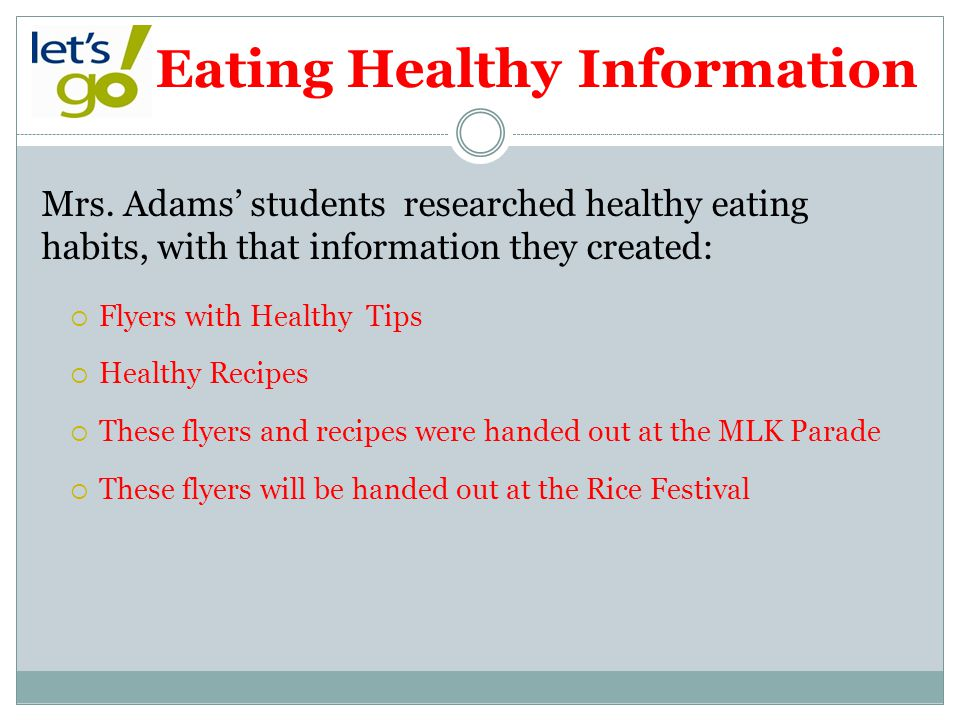 Eating Healthy Information