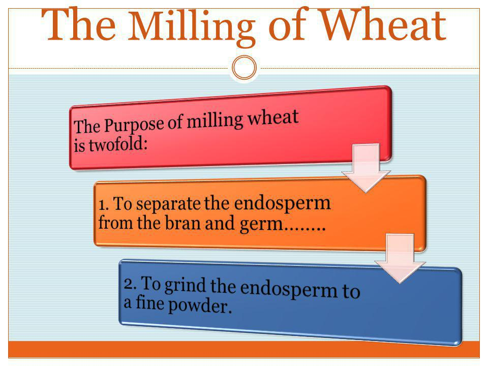 The Milling of Wheat The Purpose of milling wheat is twofold: