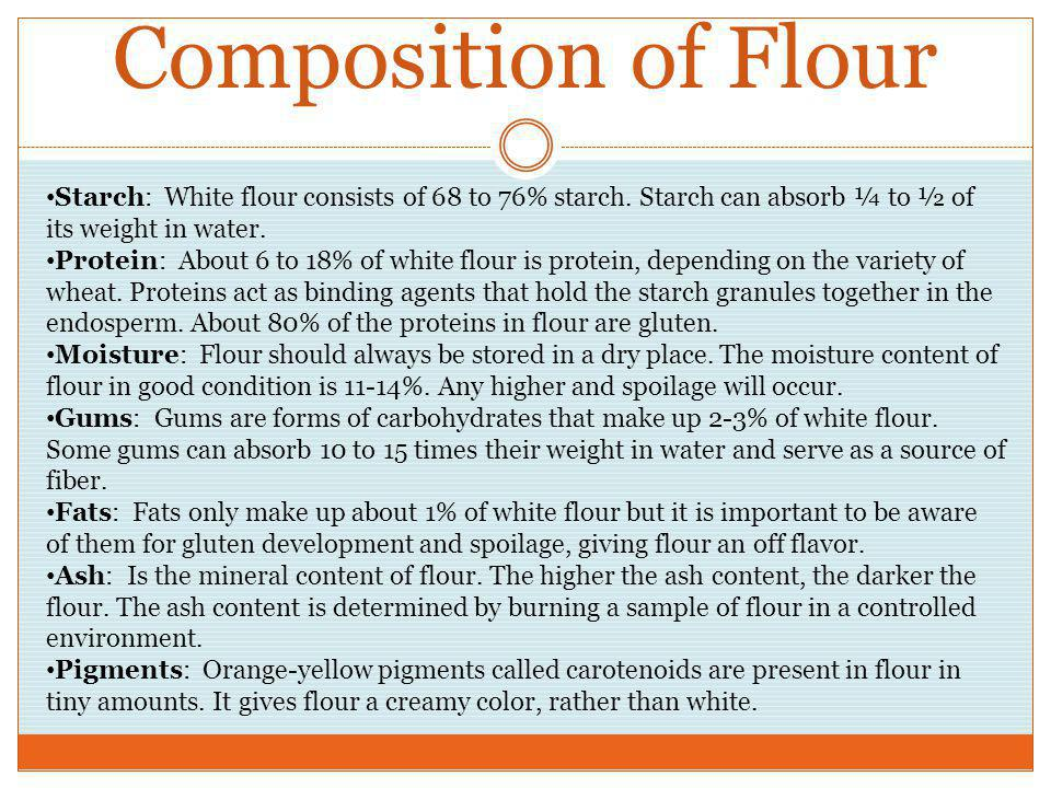 Composition of Flour Starch: White flour consists of 68 to 76% starch. Starch can absorb ¼ to ½ of its weight in water.