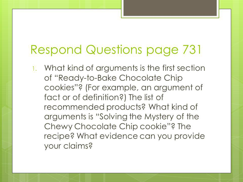 Respond Questions page 731