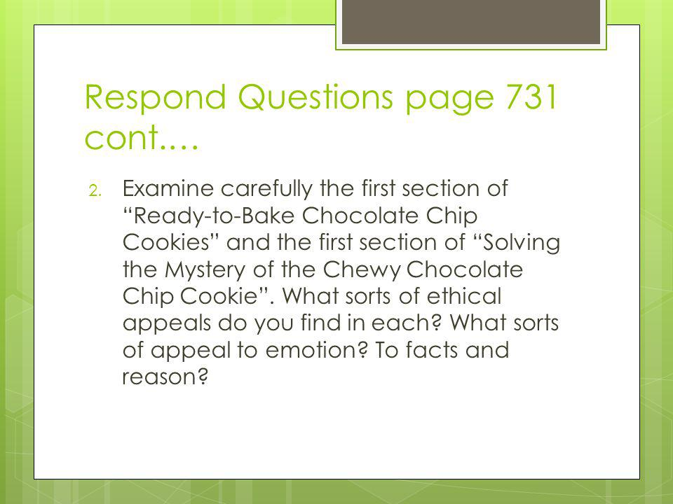 Respond Questions page 731 cont.…