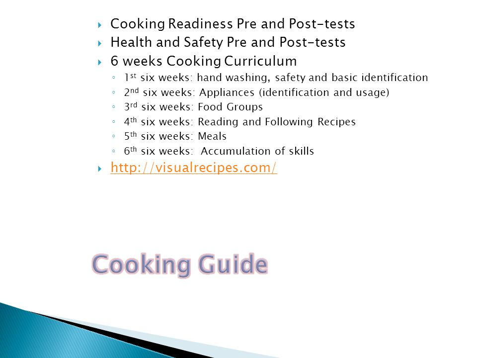 Cooking Guide Cooking Readiness Pre and Post-tests