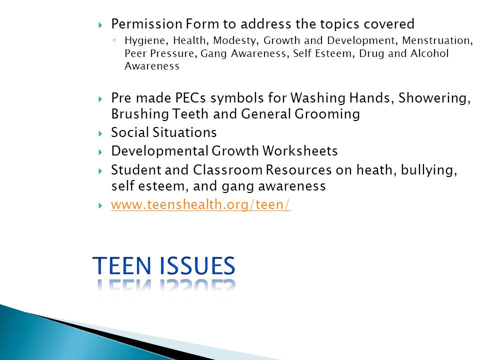 Teen Issues Permission Form to address the topics covered