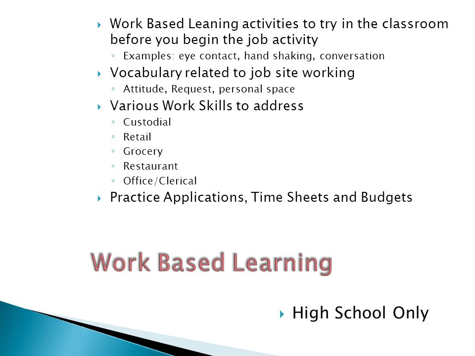 Work Based Learning High School Only